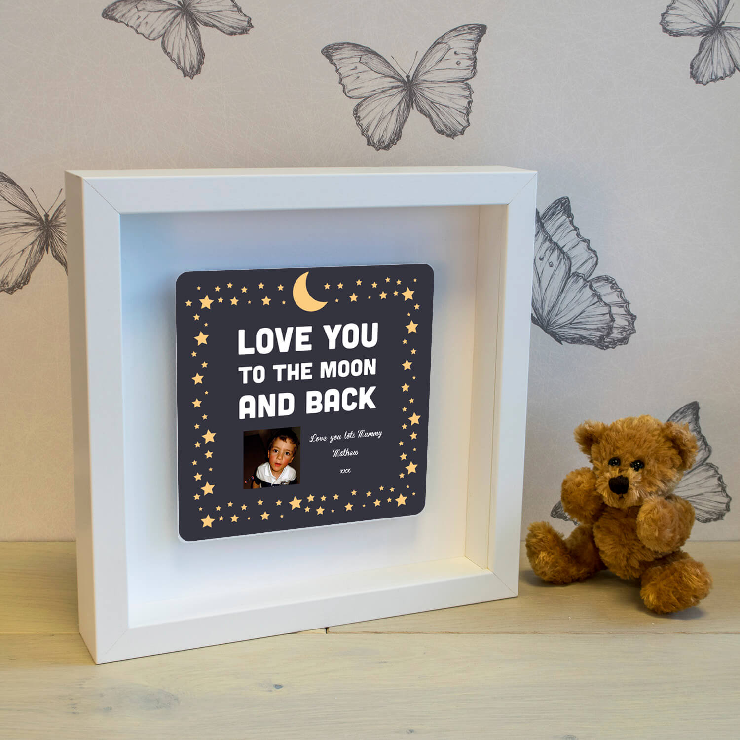 Personalised Shadow Text Frame – Moon & Back