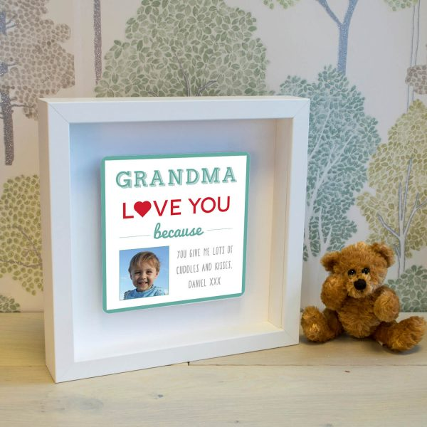 Personalised Shadow Text Frame – Grandma Love You Because