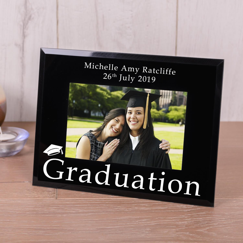 Personalised Black Glass Photo Frame (6×4) – Graduation