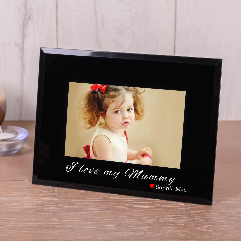 Personalised Black Glass Photo Frame (6×4) – I Heart my Mummy