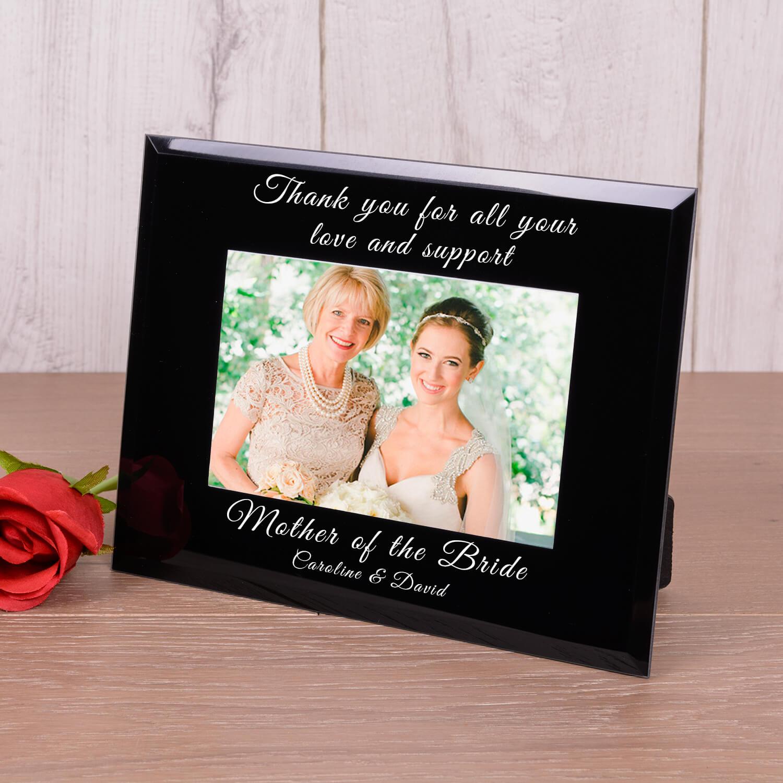 Personalised Black Glass Photo Frame (6×4) – Wedding Thank You