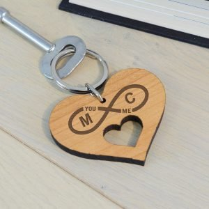 Personalised Wooden Key Ring – Initial & Heart