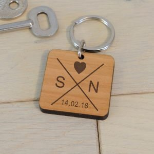 Personalised Wooden Key Ring – Date & Initials
