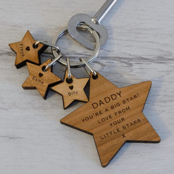 Personalised Wooden Key Ring – Stars