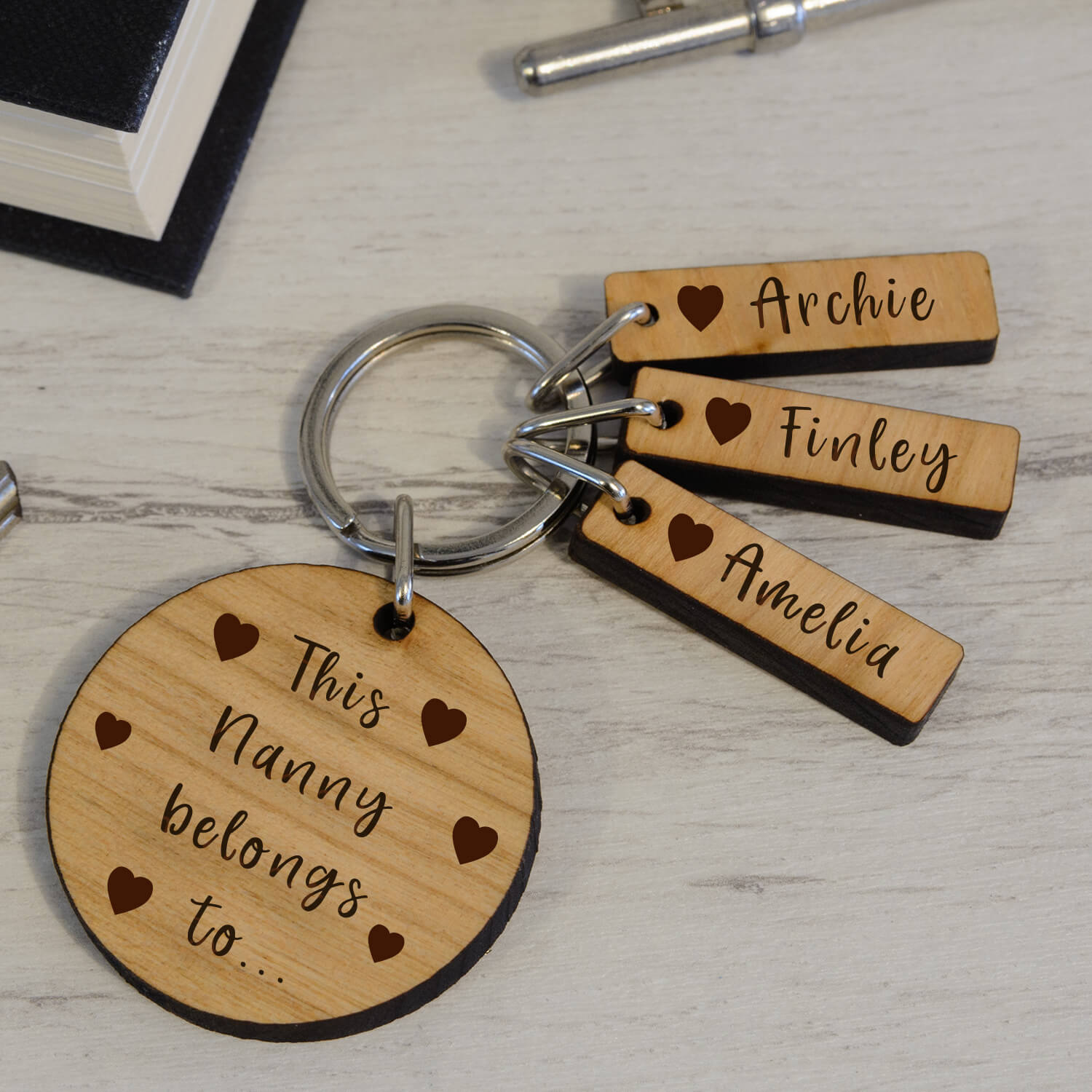 Personalised Wooden Key Ring – Tags & Hearts
