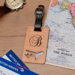 Personalised Wooden Luggage Tag – Initial