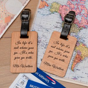 Personalised Wooden Luggage Tags (Pair) – Not Where You Go