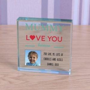 Personalised Glass Photo Frame – Mummy I Love You