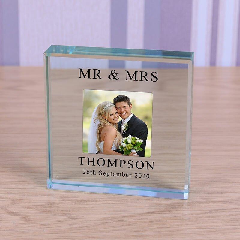 Personalised Glass Photo Frame – Wedding