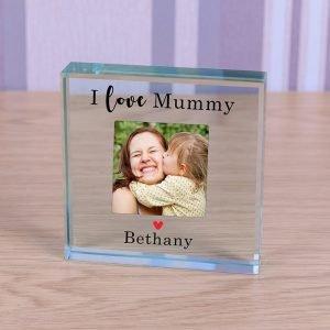 Personalised Glass Photo Frame – I Love Mummy