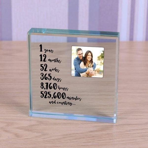 Personalised Glass Photo Frame – 1 Year Anniversary