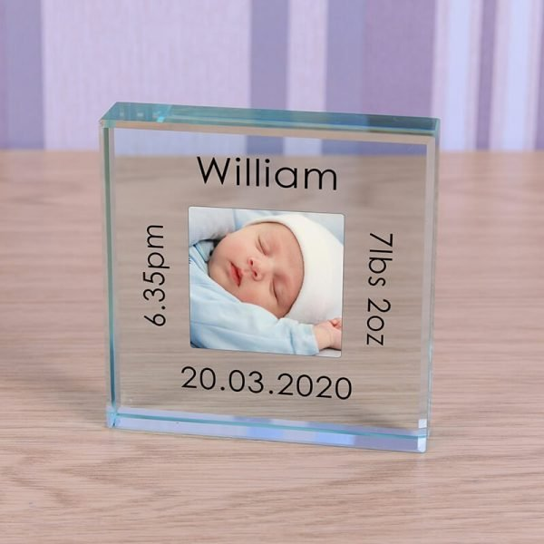 Personalised Glass Photo Frame – New Baby