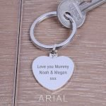 Personalised Silver Key Ring – Your Message (Heart)