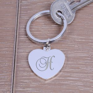 Personalised Silver Key Ring – Initial (Heart)