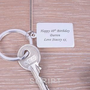 Personalised Silver Key Ring – Your Message (Rectangle)