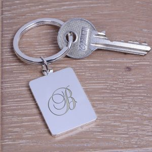 Personalised Silver Key Ring – Initial (Rectangle)