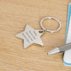 Personalised Silver Key Ring – Your Message (Star)