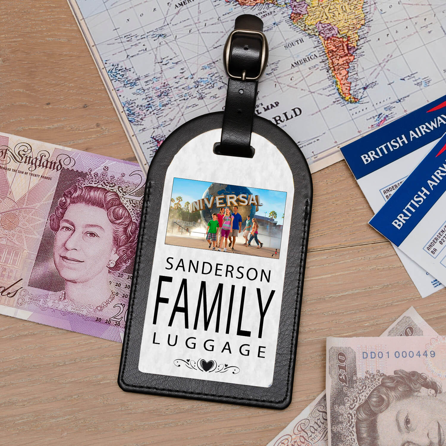 Personalised Leather Luggage Tag – Family