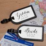 Personalised Leather Luggage Tags (Pair) – Bride & Groom