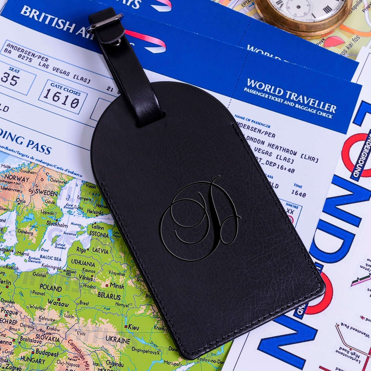 Personalised Leather Luggage Tag – Initial (Black)