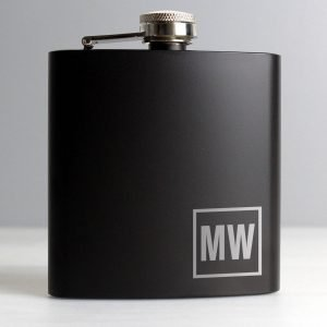 Personalised Initials Black Hip Flask