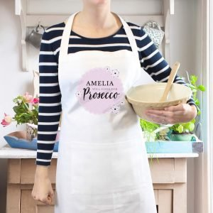 Personalised Lilac Lace 'Will Cook for Prosecco' White Apron