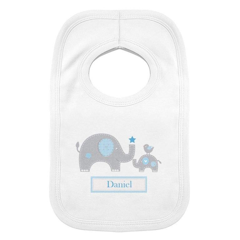 Personalised Blue Elephant 0-3 Months Baby Bib