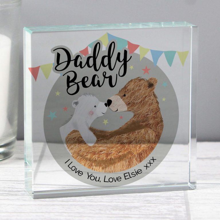 Personalised Daddy Teddy Bear Crystal Token