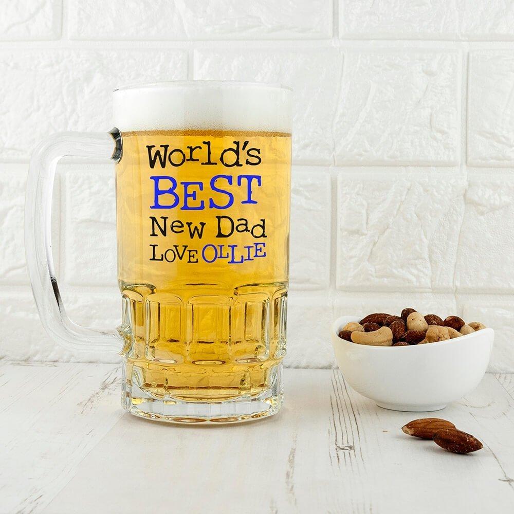 Personalised Beer Glass (Tankard) – Best New Dad