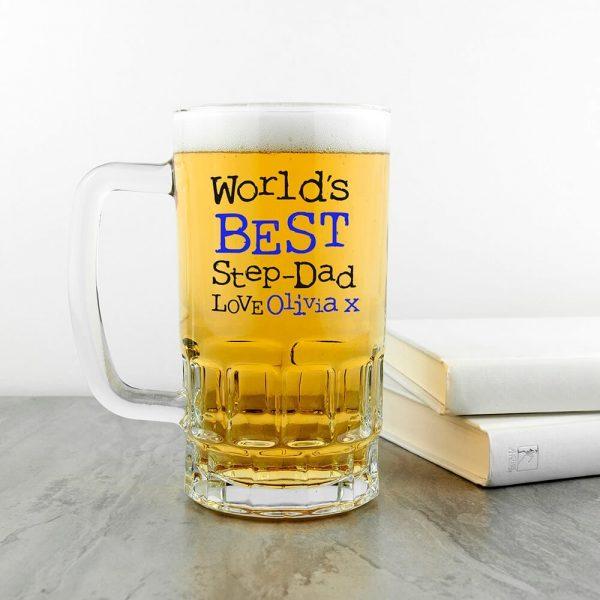 Personalised Beer Glass (Tankard) – Best New Step-Dad