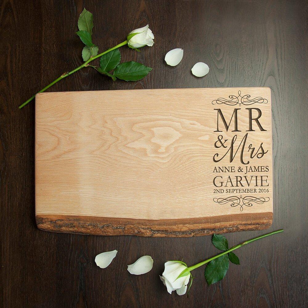 Personalised Rustic Ash Serving Board – Mr & Mrs