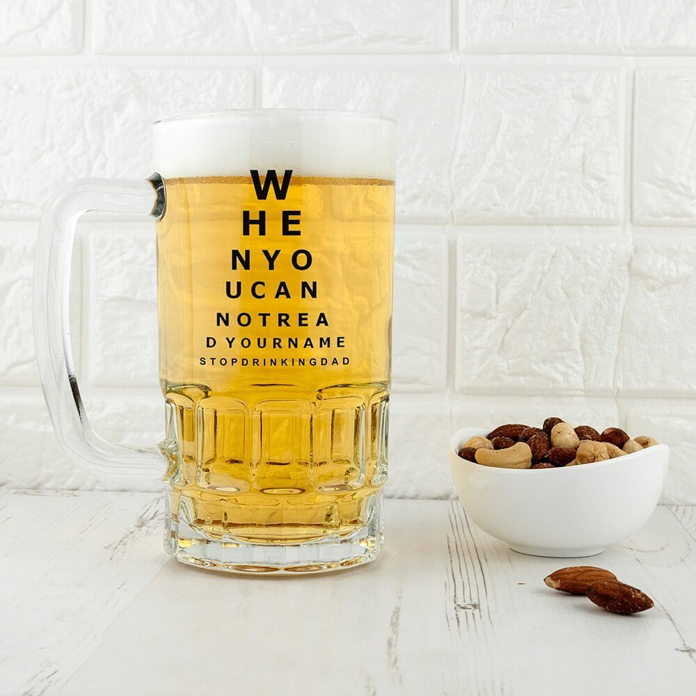 Personalised Beer Glass (Tankard) – Opticians Chart