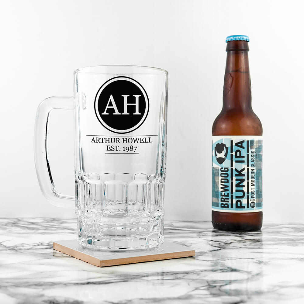 Personalised Beer Glass (Tankard) – Your Message, Name & Date
