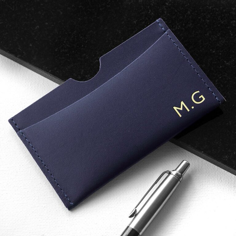 Personalised Luxury Leather Card Holder – Initials