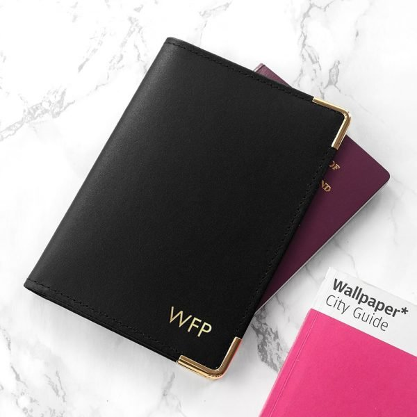 Personalised Luxury Leather Passport Holder – Black
