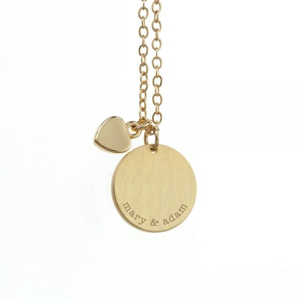 Personalised Heart & Disc Family Necklace – Message