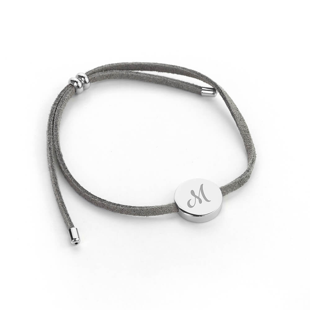 Personalised Always With You Grey & Silver Bracelet – Initial