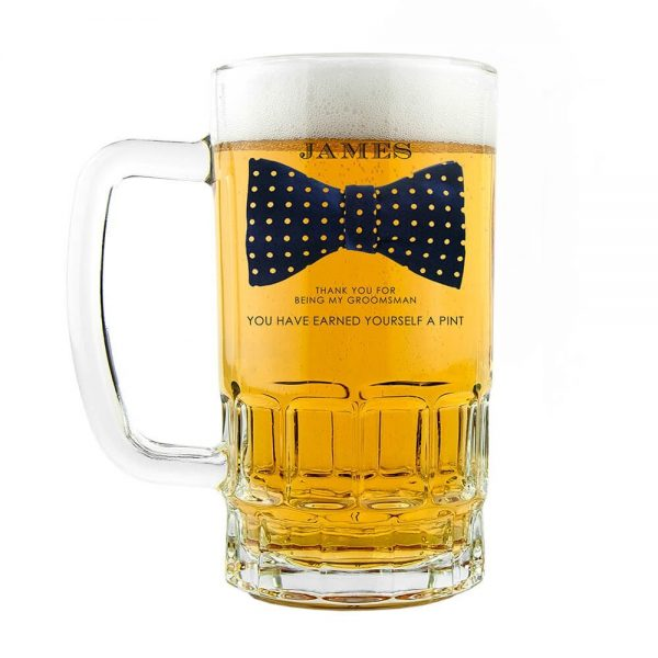 Personalised Beer Glass (Tankard) – Your Message & Name (Bowtie)