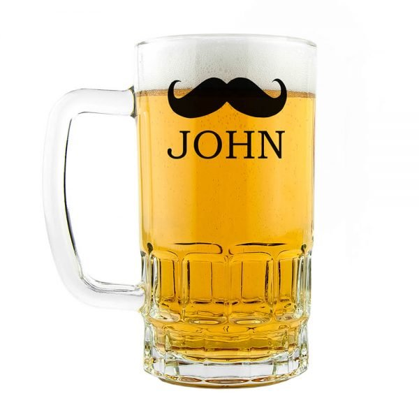 Personalised Beer Glass (Tankard) – Name (Moustache)