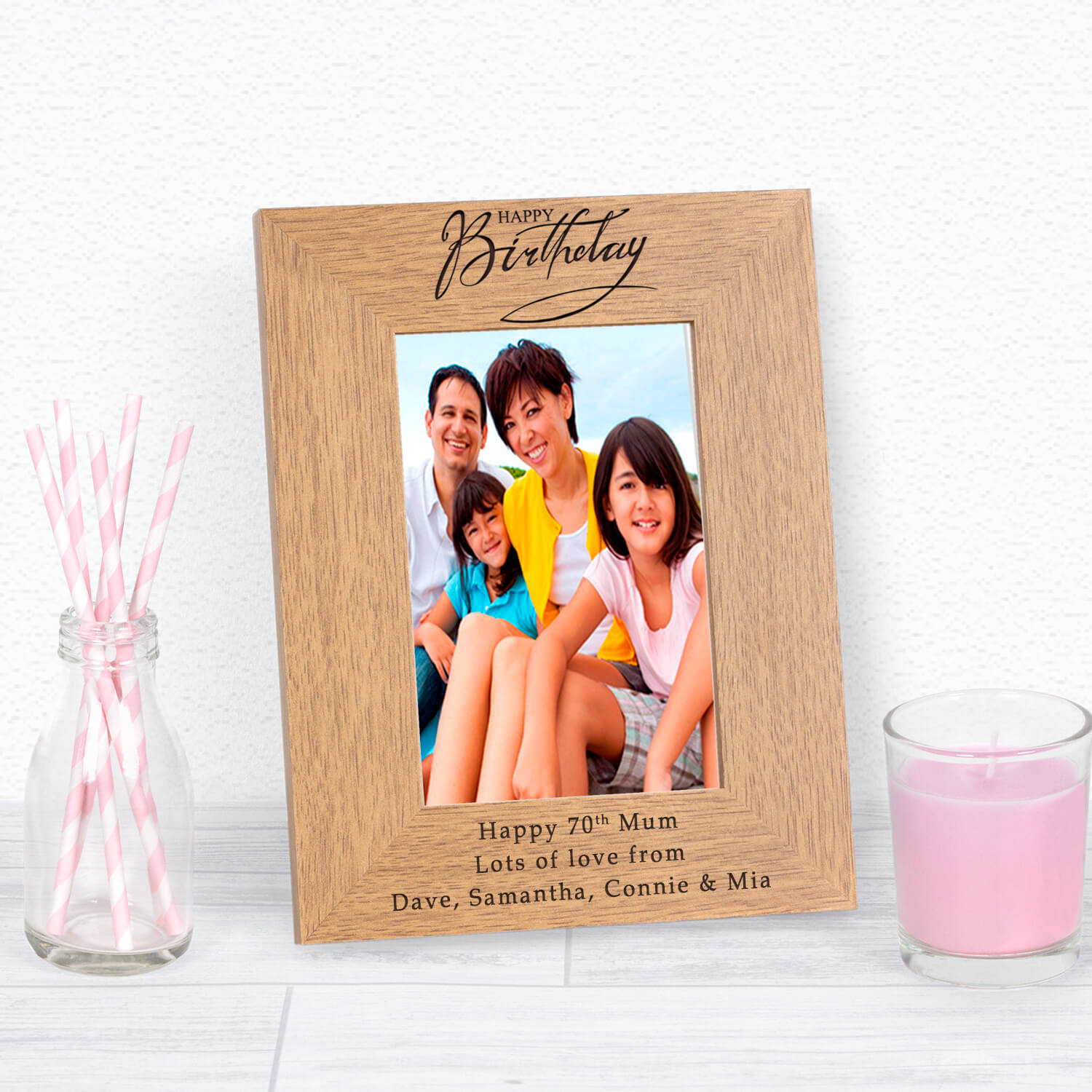 Personalised Wooden Photo Frame – Happy Birthday
