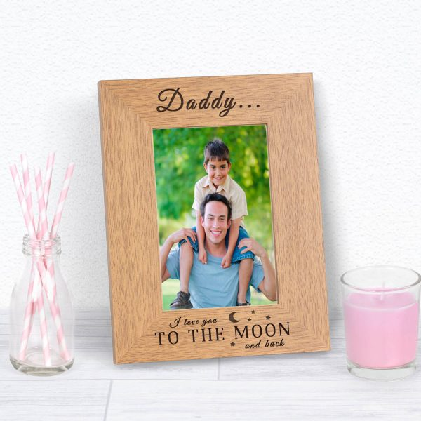 Personalised Wooden Photo Frame – Moon and Back