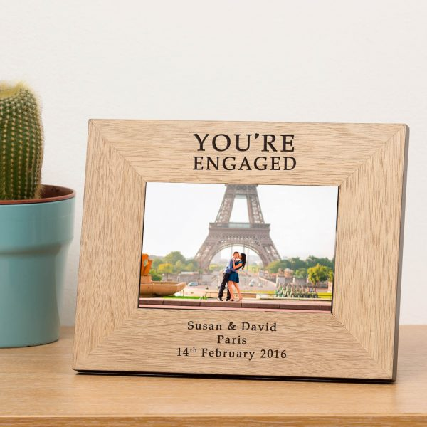 Personalised Wooden Photo Frame – You're Engaged