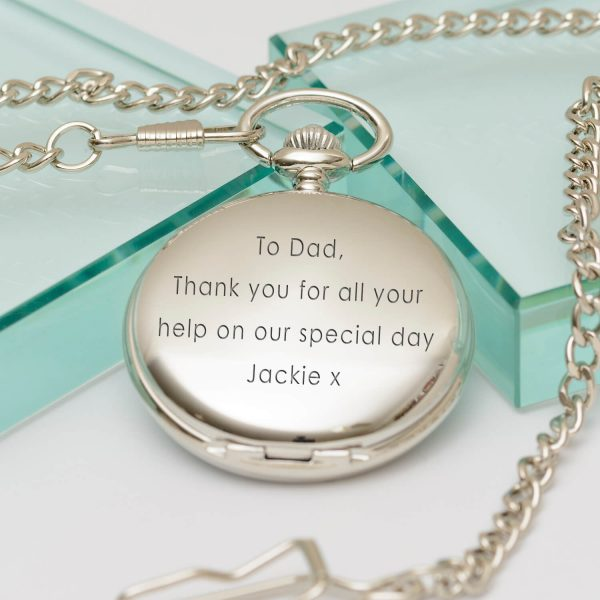 Personalised Value Pocket Watch (Straight Text) – Your Message