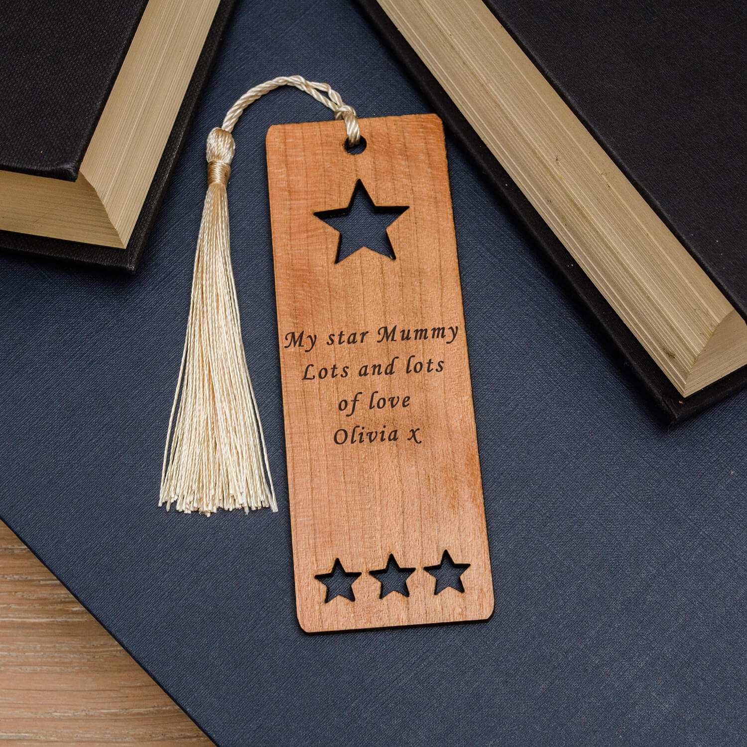 Personalised Wooden Bookmark – Your Message (Star)