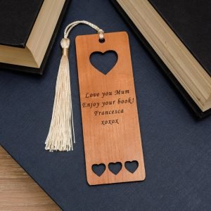 Personalised Wooden Bookmark – Your Message (Hearts)