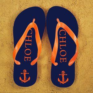 Personalised Adults Flip Flops (Blue & Orange) – Anchors