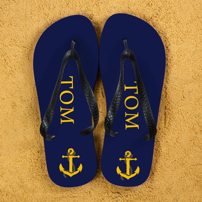 Personalised Adults Flip Flops (Blue & Yellow) – Anchors