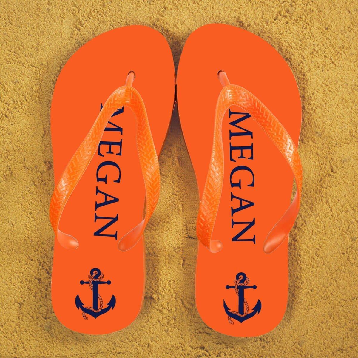 Personalised Adults Flip Flops (Orange & Blue) – Anchors