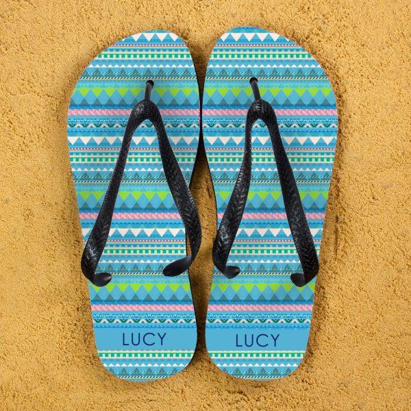 Personalised Adults Flip Flops (Blue) – Aztec