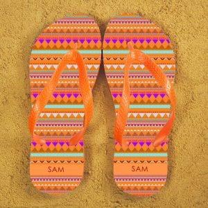 Personalised Adults Flip Flops (Orange) – Aztec